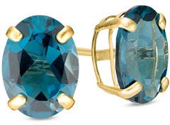 Oval London Blue Topaz Solitaire Stud Earrings in 10K Gold affiliate
