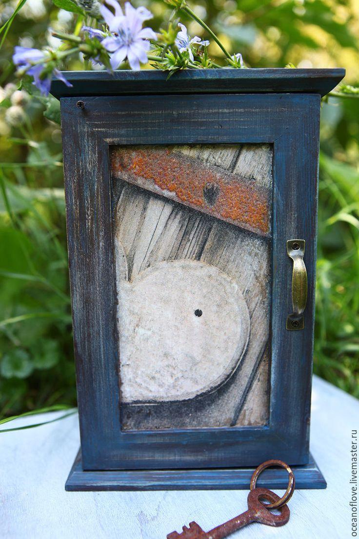 Купить Ключница СТАРАЯ-СТАРАЯ КЛЮЧНИЦА - темно-серый, ключница ручной работы, ключница деревянная