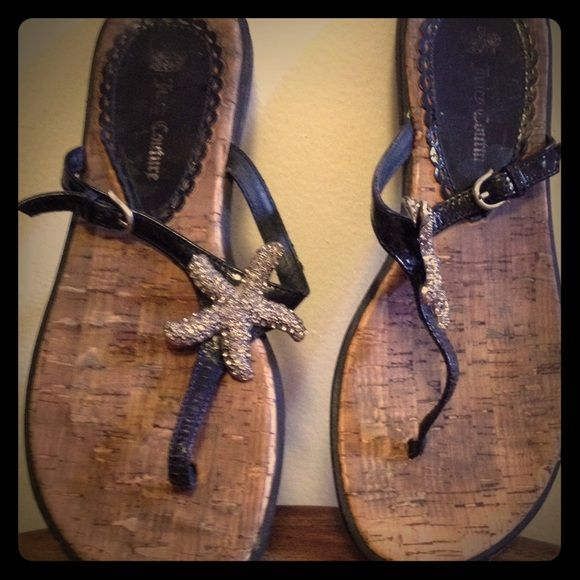 """Juicy Couture """"Frankie"""" starfish sandals Worn a couple times to events in the summer. The padding is cork and stitching. It has signs of wear on cork (can see in picture two). The starfish is very attractive and you will for sure be getting commitments! Juicy Couture Shoes Sandals"""