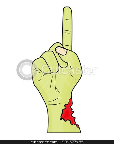 Zombie hand finger up gesture halloween vector realistic cartoon illustration. Image of sc...