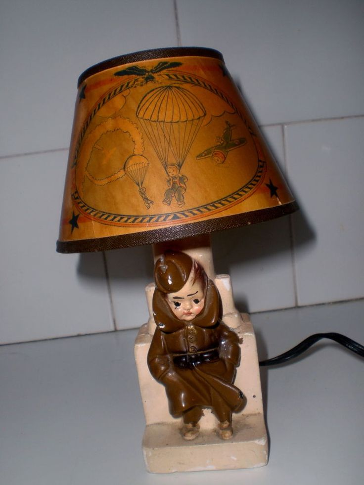 Vintage 1940s Lamp Wwii Chalkware Army Soldier Night Light
