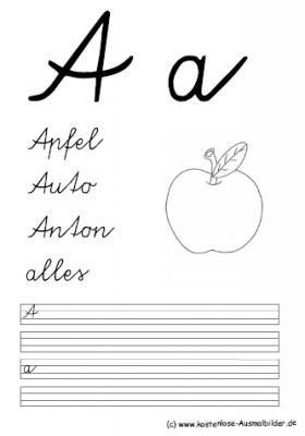 Malvorlagen Ausmalbilder Schreibübung 1./2.Klasse | Schreibübung 1./2.Klasse ausmalen | Malvorlagen Alphabet ABC