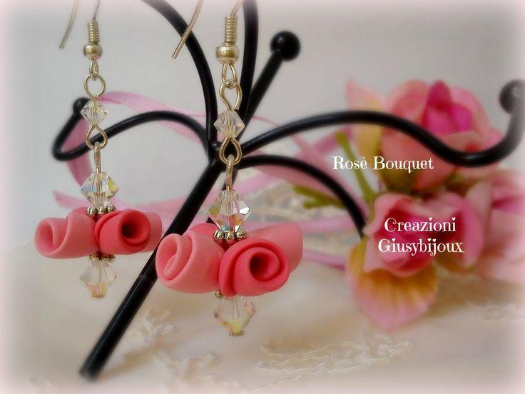 #Orecchini Rosè #Bouquet in polymer clay e #swarovski collezione Bouquet di rose  , by  Creazioni Giusybijoux, 15,00 € su misshobby.com