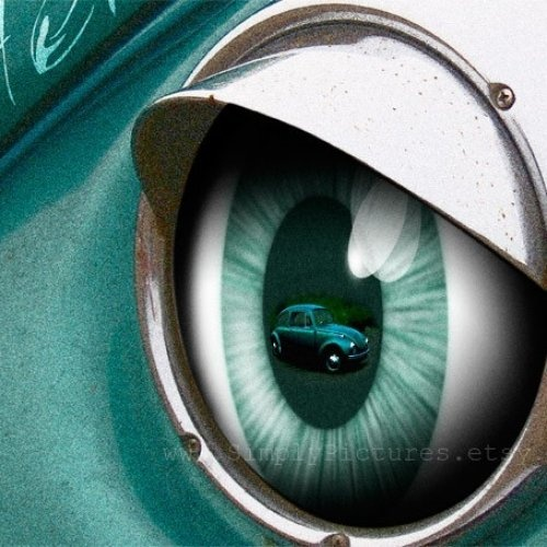 VW Beetle. Teal. Vintage Chrome Headlight. Eyelashes ...