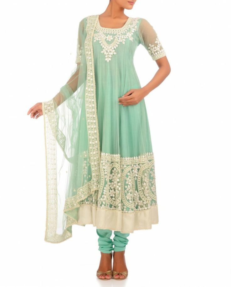 Exclusively.In Mint Green Anarkali Suit