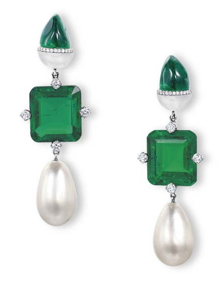 A PAIR OF UNUSUAL EMERALD, NATURAL PEARL AND DIAMOND EAR PENDANTS, BY ETCETERA Each suspending a square-shaped emerald weighing 9.12 and 8.84 carats, enhanced by brilliant-cut diamond accents, to the drop-shaped natural pearl measuring 10.3 - 10.5 x 16.0 and 10.2 - 10.4 x 16.8 mm, joined to the sugarloaf emerald and half-domed pearl surmount with diamond detail, mounted in 18k white gold, 5.2 cm long, in fitted pink leather case With maker's mark for Etcetera