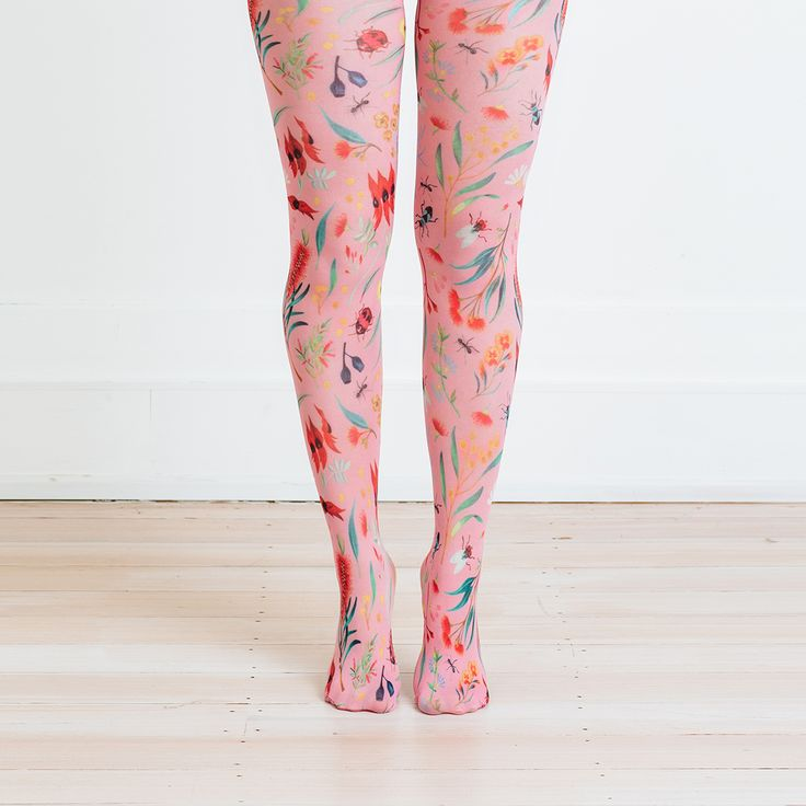 Australian wild flower tights