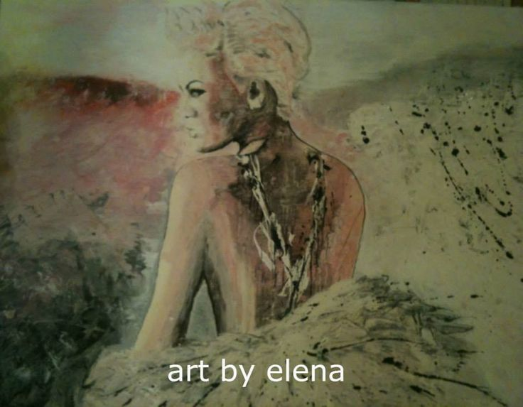 Acrylic painting of PINK.  Art by Elena N