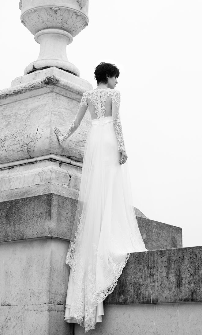 Berta Bridal 2013  via Belle The Magazine.   This dress is gorgeous and it's nice to see a bridal shot with a short haired bride. It's good to know that I'll still look beautiful even if I decide to keep my hair short.