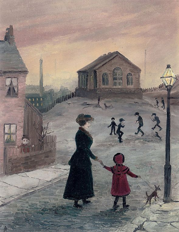 Mother and child on their way to the Wensylian Chapel, Helen Bradley. English (1900 - 1979)