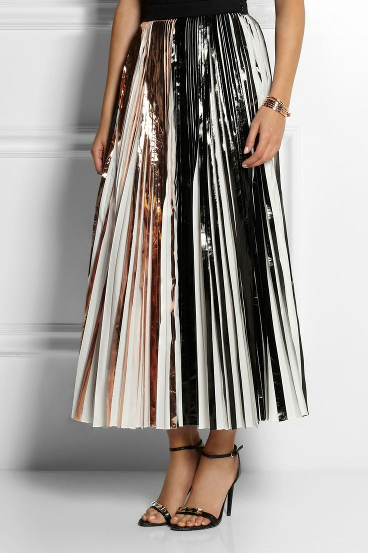 Shop the Modern Metallics Issue of THE EDIT magazine. Proenza Schouler | Foil-paneled pleated cloqué maxi skirt