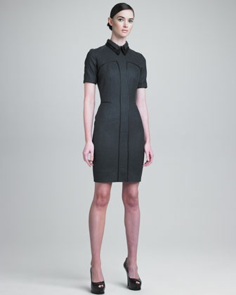 Layered Leather-Collar Dress by Yves Saint Laurent: Laurent Paris, Layered Leathercollar, Yves Saint Laurent, Leathercollar Dresses, Layered Dresses, Day Dresses, Collars Dresses, Laurent Layered, Layered Leather Collars