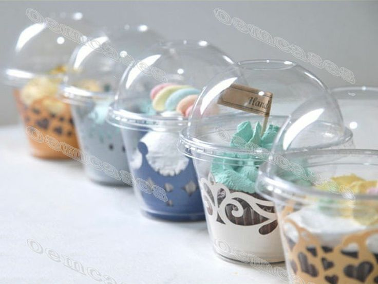 Disposable Plastic Cupcake Pudding Pastry Decoration Container 50/100/200/500