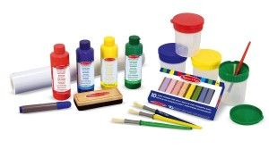 Melissa And Doug Toys: Easel Accessory Set Comes with seven items: Washable paint in four colors: red, blue, yellow, green. The paint is washable but you still might want to purchase a Melissa and Doug Artist's Smock. http://awsomegadgetsandtoysforgirlsandboys.com/melissa-and-doug-toys/ Melissa And Doug Toys: Easel Accessory Set