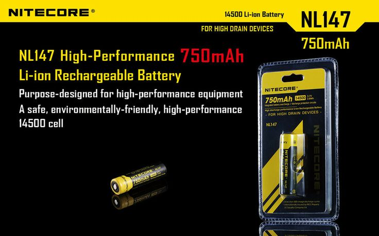 Nitecore 14500 Li-ion Rechargeable Battery 750mAh 3.7V 2.8Wh Integrated battery overcharge / discharge protection circuits High discharge performance Li-ion Rechargeable Battery · More than 500 charge-discharge cycles. · Internationally insured by Ping An Insurance(Group) Company of China, Ltd.  #hidcanada