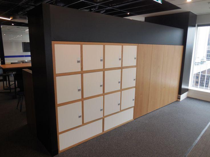 Timber Veneer lockers and storage cabinets