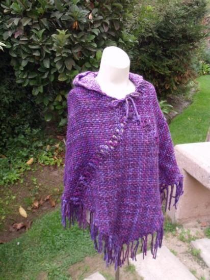 poncho con gorro poncho lana,acrilico telar cuadrado