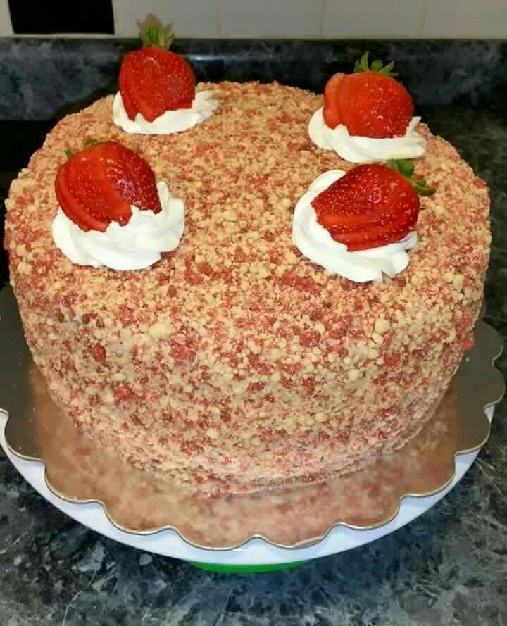Strawberry shortcake ice cream cake Bottom crust 22 Golden Oreos Crushed 5 Tbsp…