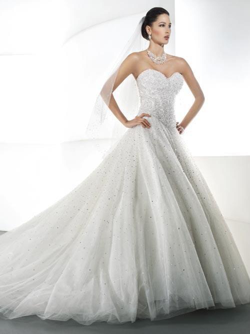 Balletts Bridal - 19607 - Wedding Gown by Demetrios - Strapless, Heavily Beaded Bodice, Full Tulle Beaded Skirt, Lace Up Back
