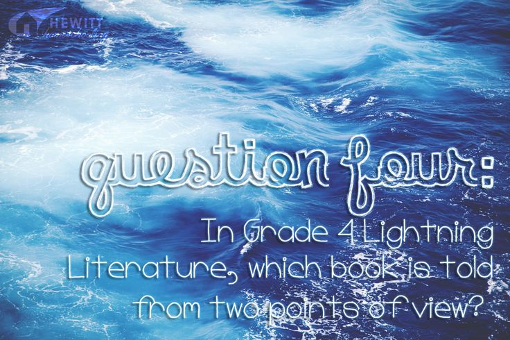 Oh my, the Lightning Lit Grade 4 announcement is getting closer and closer! Which means it's time for question number four...
