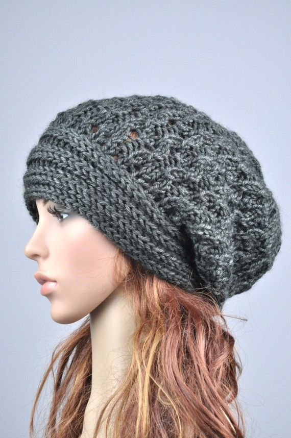 Hand knit hat the slouchy Hat with band in charcoal от MaxMelody