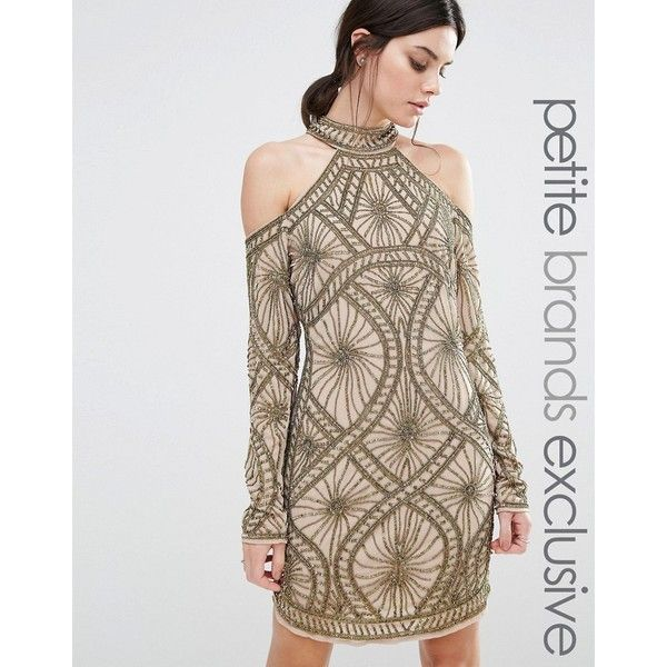 Maya Petite Multi Colour Sequin Cold Shoulder Mini Dress ($84) ❤ liked on Polyvore featuring dresses, petite, pink, brown dress, pink mini dress, petite cocktail dress, cold shoulder dress and short sequin dress