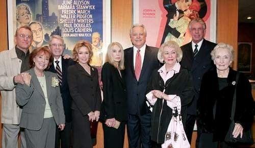 A salute to Barbara Stanwyck (2007) L-R Earl Holliman, Gigi Perreau, Army Archerd, Pat Crowley, Lizabeth Scott, host Robert Osborne, Lori Nelson, Nolan Miller & Nina Foch.