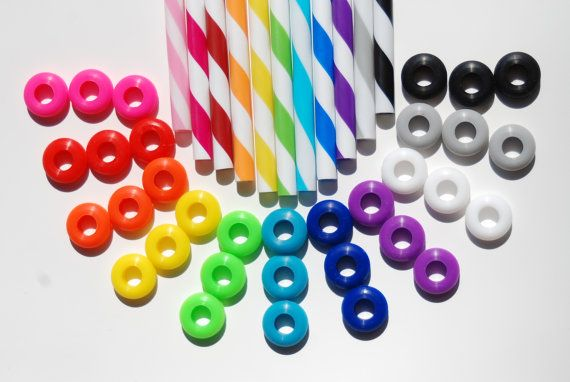 18 Colored Grommets With 18 Matching Colored Straws for DIY Mason Jar Cups, Summer Time, Silicone Grommets Food Safe, Rubber Grommets