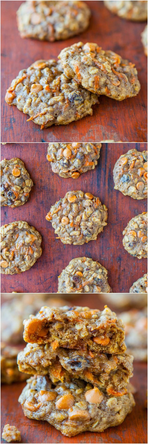 Soft and Chewy Spiced Carrot Cake Cookies  by averiecooks: Tons of texture and so moist with zero cakiness. Eat your vegetables by way of healthy cookies!