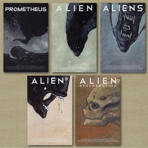 Aliens and Prometheus Horror Science Fiction set of Five 11 x 17 posters. $92.00, via Etsy.