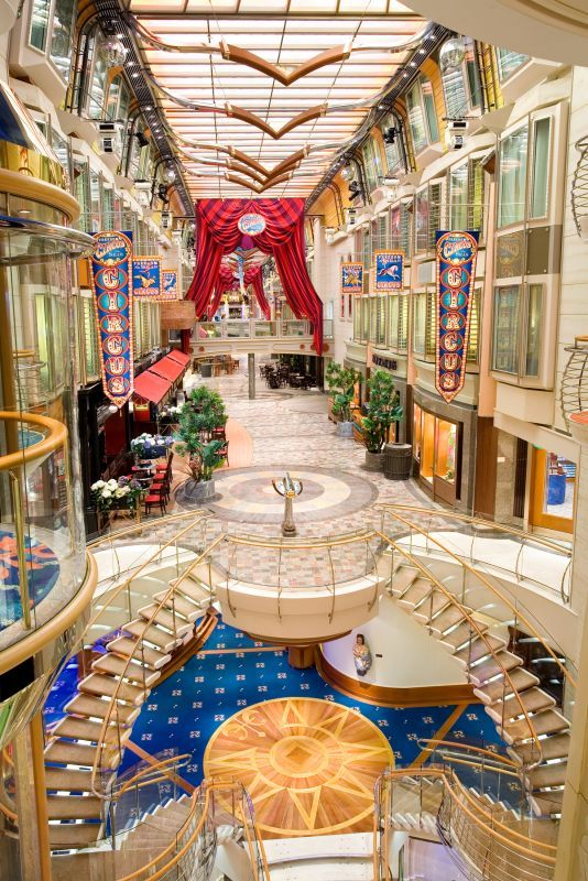 The Promenade of Freedom of the Seas. The windows you see are cabin windows. I have several of these cabins reserved for our group cruise January 27, 2014.  Wonderful Ship.