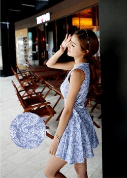 SD_1308_DR052 Swirl leaves print cute dress