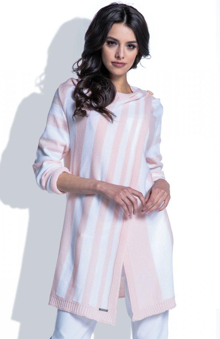 Fobya F401 sweter pudrowy róż Piękna narzutka damska, w kolorowe paski, z długim rękawem