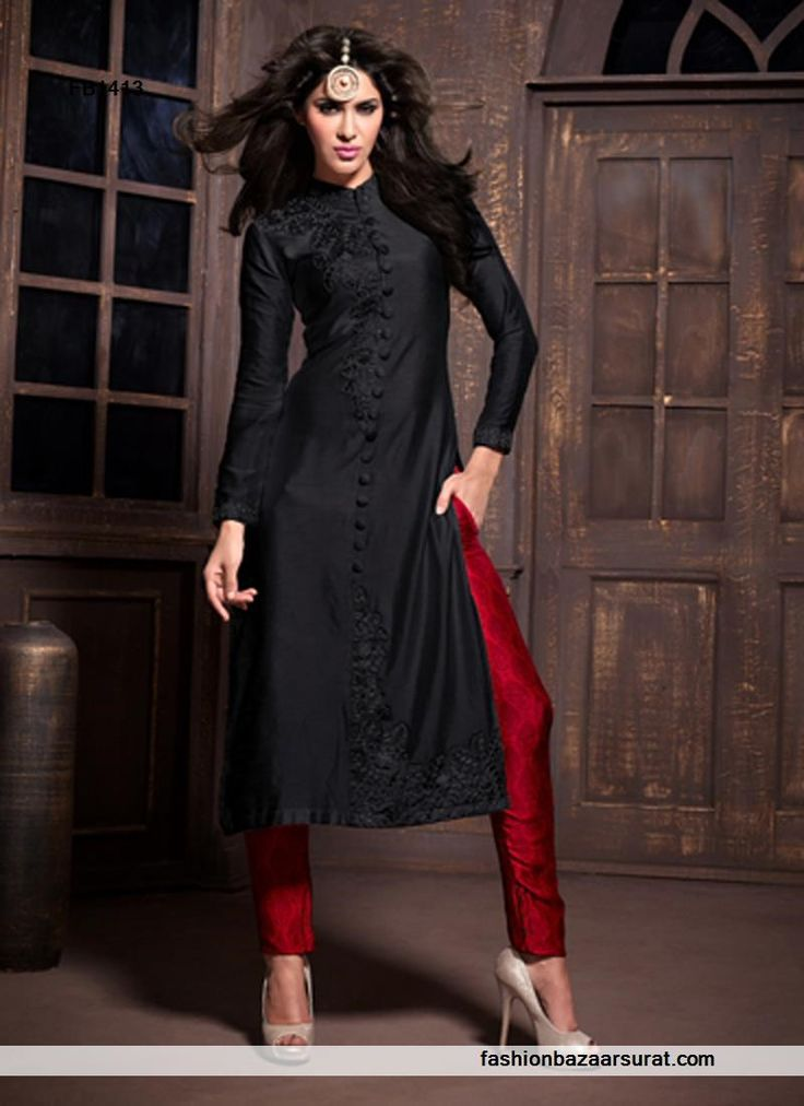 Red N Black Lace Work Straight Salwar Suits