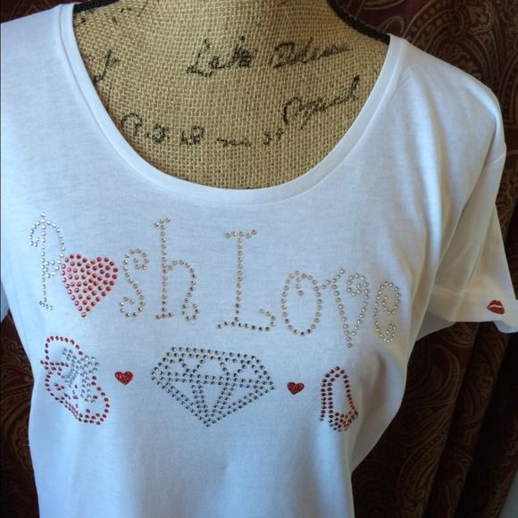 Posh Love XXL junior  Bling T fits 12/14ladies Posh Love Bling T. sweet glam glitter lips on right side of sleeve  and adorable red heart❤️ on left back bottom side of T! This 2XX fits ladies XL  or 12-14 these are juniors fit so they run 2 sizes smaller for the slim tapered look! fits about about a 14 super soft, flowy  FAB comfort! Please see my other listings for additional pictures and sizing info in stock rdy to ship❤️ Posh Love Tops