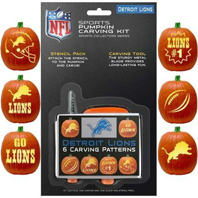 Detroit Lions Pumpkin Carving Kit I have to try and get this for my son in-law
