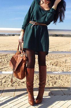 Dress, tights & boots. love!