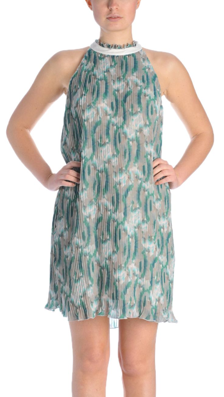 Atos Lombardini Pleated dress, hook and eye fastening at neck
