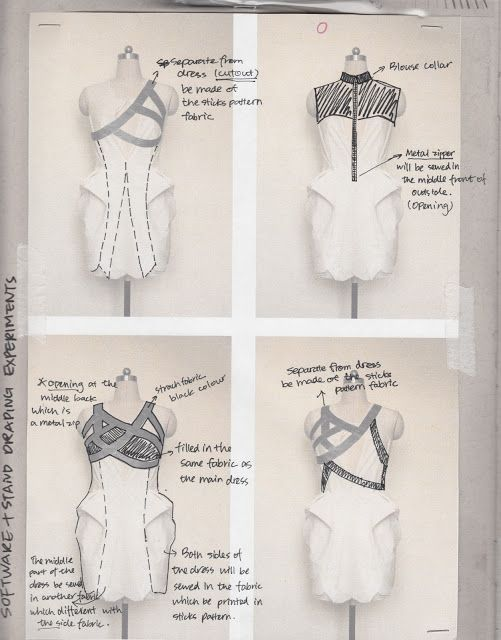 Fashion Sketchbook - student fashion design & development; draping experiments // Han Gu