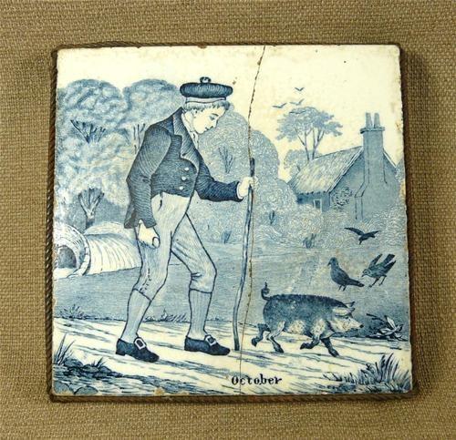 "Josiah Wedgwood ""Old English"" Blue White Tile ""October"" in Metal Trivet Stand | eBay"