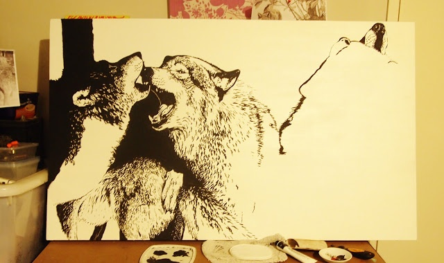 Pack of Wolves, what I'm currently working on.  Acrylic on canvas.