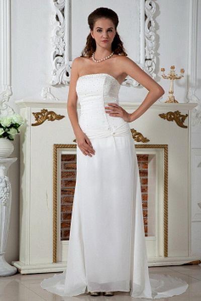 Chiffon Elegant Strapless Bridal Dresses wr0200 - http://www.weddingrobe.co.uk/chiffon-elegant-strapless-bridal-dresses-wr0200.html - NECKLINE: Strapless. FABRIC: Chiffon. SLEEVE: Sleeveless. COLOR: Ivory. SILHOUETTE: A-Line. - 146.59