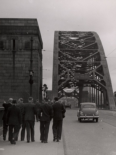 This image around the early 1950s shows much less traffic on the Tyne Bridge than you would see today.