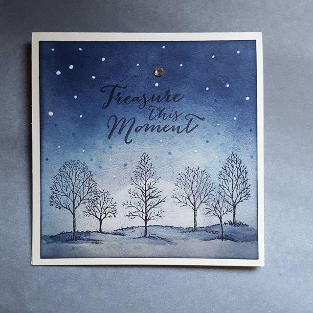 【hatadasan】さんのInstagramをピンしています。 《#カードメイキング#cardmaking#handmadecard #手作りカード #スタンピンアップ#stampinup#夜#night #森#forest  夜の森の静寂さを出したかったのだけど… むずかしいな~😅》