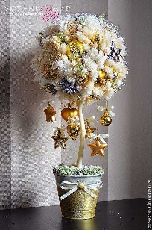 Купить Топиарий на заказ №1 - золотой, топиарий, новогодний подарок, новогодний декор, новогодний интерьер