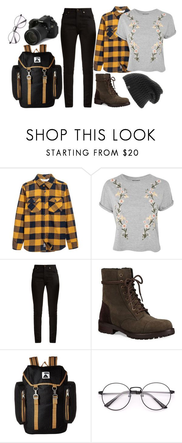 """""""Photography camp"""" by ppatriciacristiane on Polyvore featuring moda, Topshop, Yves Saint Laurent, UGG, Poler, The North Face, Eos, outfit, travel e girly"""