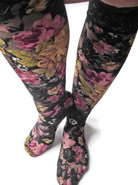 Women Socks Lace Socks for Women Knee high socks by mrearrings