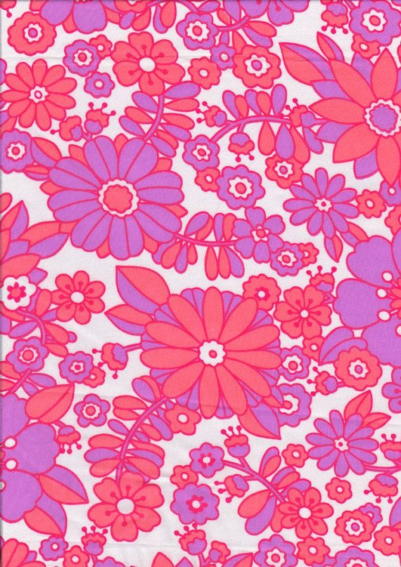 Vintage fabric 1960s retro pink orange floral by for Vintage fabric