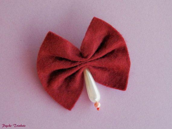 Burgundy bow brooch by PsychoTrinkets on Etsy #etsy #pinupbrooch #rockabillyjewellery #gothkawaii