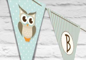 σημαιάκια τρίγωνα κουκουβάγια καρό στολισμός βάπτιση αγοράκι teal blade.gr
